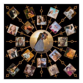 家族写真のコラージュ21の写真のかわいらしく黒い金ゴールド ポスター
