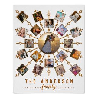家族写真のコラージュ21の白信号の金ゴールド + 名前 ポスター