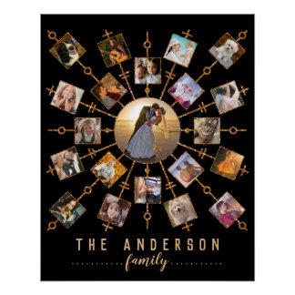 家族写真のコラージュ21の黒信号の金ゴールド + 名前 ポスター