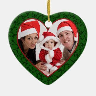 家族写真のハートフレームのクリスマスのオーナメント セラミックオーナメント