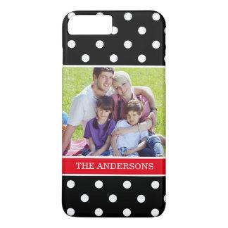 家族写真のポートレートが付いているかわいい水玉模様パターン iPhone 8 PLUS/7 PLUSケース