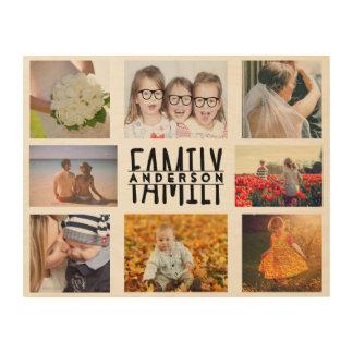 家族8の写真のコラージュのテンプレートはと一流V1を加えます ウッドウォールアート