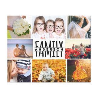 家族8の写真のコラージュのテンプレートはと一流V1を加えます キャンバスプリント