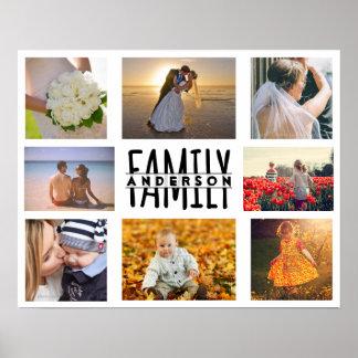 家族8の写真のコラージュのテンプレートはと一流V1を加えます ポスター