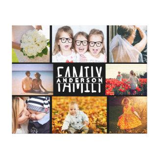 家族8の写真のコラージュのテンプレートはと一流V2を加えます キャンバスプリント