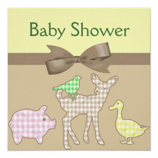家畜のギンガムの中立ベビーシャワー カード