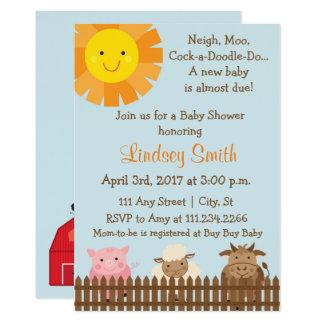 家畜のテーマのベビーシャワーの招待 カード