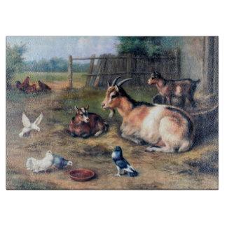 家畜のヤギの鳥の絵を描くこと カッティングボード