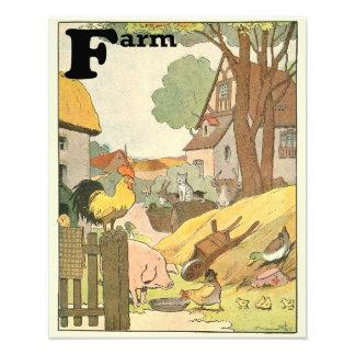 家畜の図解入りの、写真付きのなアルファベット フォトプリント