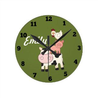 家畜の子供の時計 ラウンド壁時計