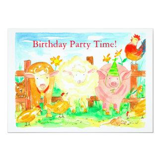 家畜の子供の誕生日のパーティの招待状 カード