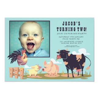 家畜の納屋周囲の庭の子供の誕生日の写真の招待 12.7 X 17.8 インビテーションカード
