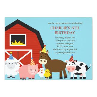 家畜の誕生日のパーティの招待状 12.7 X 17.8 インビテーションカード