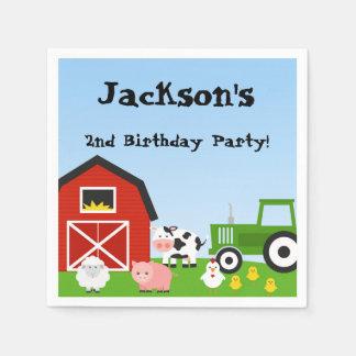 家畜、牛、トラクター、ヒツジ、ブタ、誕生日 スタンダードカクテルナプキン