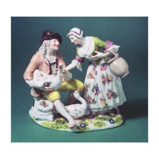 家禽の販売人のMeissenの姿、c.1750 キャンバスプリント
