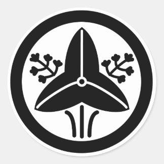 家紋「丸に立ち沢瀉」 ラウンドシール