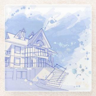 家: 水彩画の引くこと ガラスコースター