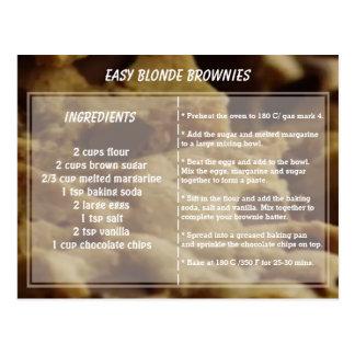 容易なブロンドのブラウニーのレシピ ポストカード