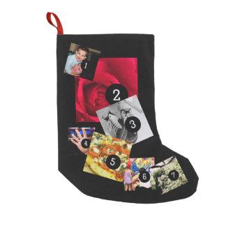 容易に7つの写真が付いているあなた自身の写真の表示を作って下さい スモールクリスマスストッキング