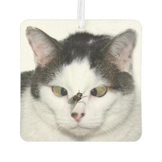寄り目の猫およびはえ カーエアーフレッシュナー