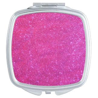 密集した化粧品の鏡の女の子らしいピンクのきらめくギフト