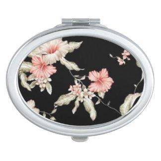 密集した鏡のためのばら色のハイビスカスの花模様