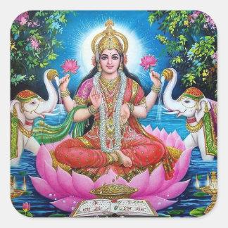 富のステッカーのLakshmiの女神 スクエアシール