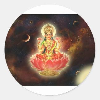 富のMaa Maha Lakshmi Devi Laxmiの女神 ラウンドシール