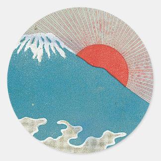富士山および日曜日のヴィンテージの日本のな絹のラベル ラウンドシール