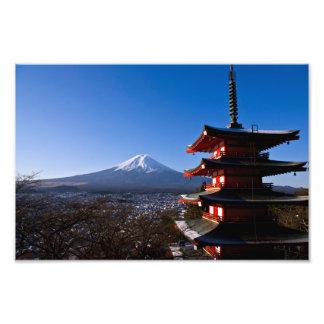 富士山および赤い塔 フォトプリント