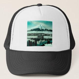富士山の冬の影の下の単独ボートの漕ぎ手 キャップ
