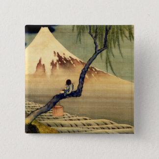 富士山の日本人のヴィンテージを見ているHokusaiの男の子 5.1cm 正方形バッジ