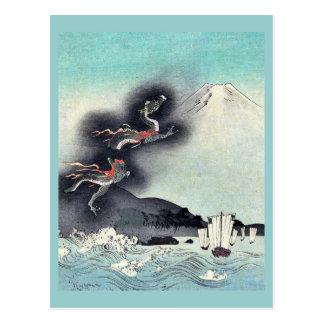富士山の浮世絵に上がるドラゴン ポストカード
