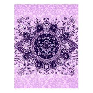 富裕のダマスク織: 豪華な薄紫および紫色 ポストカード