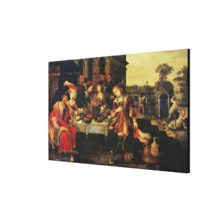 富豪のテーブルのラザロ、1618年(canvの油 キャンバスプリント
