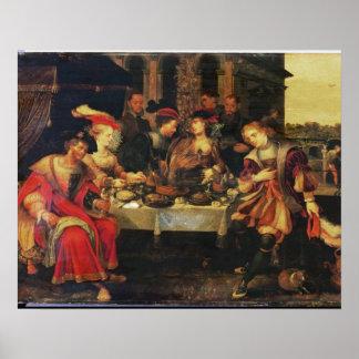 富豪のテーブルのラザロ、1618年(canvの油 ポスター