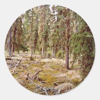 寒帯|森林|床 丸形シールステッカー