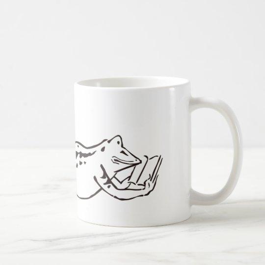 寝そべり読書カエル コーヒーマグカップ