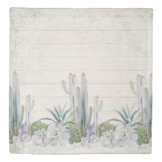 寝室の装飾のShiplapの木製の砂漠のサボテンのSucculent 掛け布団カバー