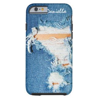 寸断された糸-裂かれたデニムのブルー・ジーンズ ケース