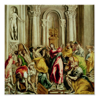 寺院から商人を運転しているイエス・キリスト ポスター