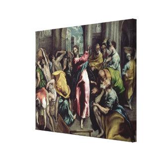 寺院から貿易業者を運転しているキリスト キャンバスプリント