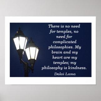 寺院のための必要性無し-ダライ・ラマの引用文-芸術のプリント ポスター