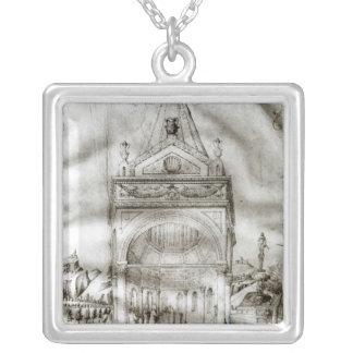 寺院の提示 シルバープレートネックレス
