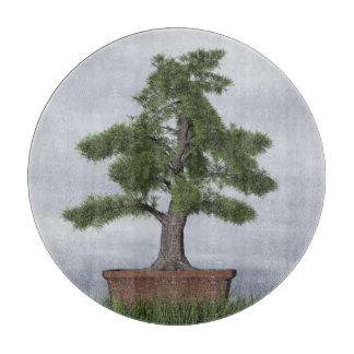 寺院の杜松の木の盆栽- 3Dは描写します カッティングボード
