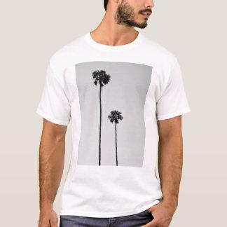 対のやしマイアミの黒く及び白いティー Tシャツ