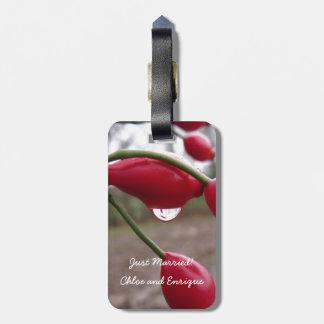 対のバラの実および雨新婚旅行の荷物のラベル ラゲッジタグ