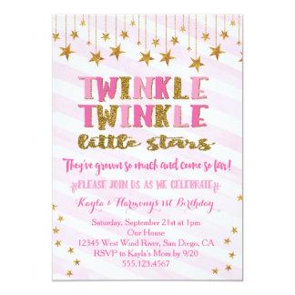 対の女の子のきらめきのきらめき少し星の招待状 カード