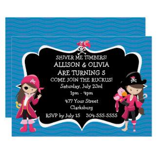 対の女の子の海賊誕生会 カード