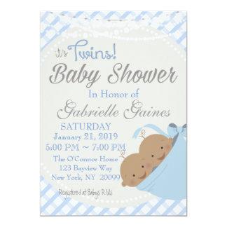 対の男の子のアフリカ系アメリカ人のベビーシャワーの招待状 カード